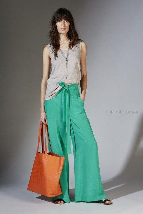 pantalon ancho palazzo verde aqua Maria Cher primavera verano 2019