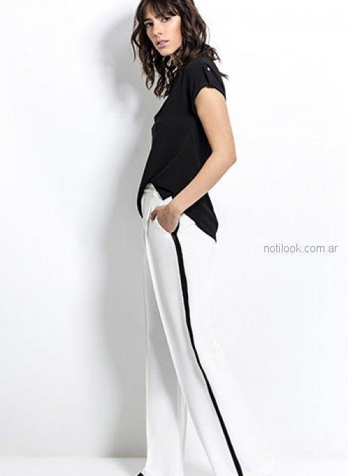 pantalon blanco con franja negra look oficina Activity Primavera verano 2019