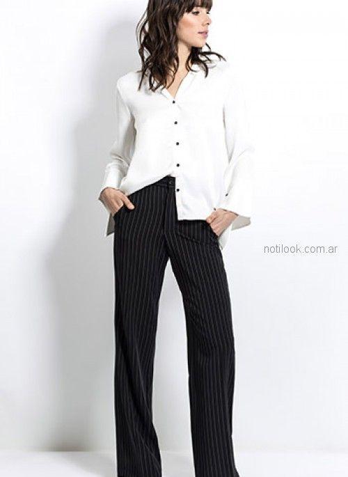 pantalon de vestir a rayas y camisa blanca look oficina Activity Primavera verano 2019