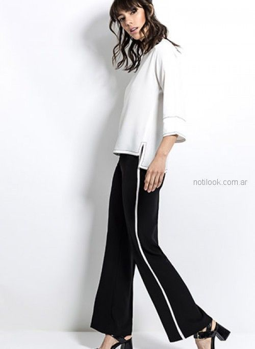 pantalon de vestir negro con franja a los costados y blusa blanca look oficina Activity Primavera verano 2019