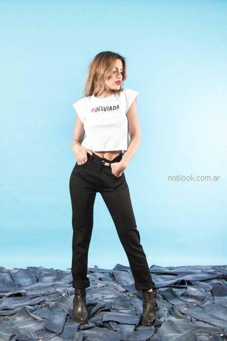 pantalon recto negro Desvio jeans verano 2019