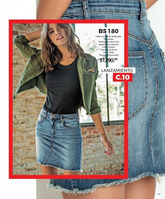 pollera jeans para señoras martina di trento verano 2019