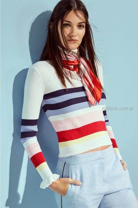 sweater casual a rayas mujer Paula Cahen d anvers verano 2019