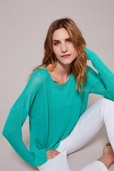 sweater de hilo turquesa Estancias Chiripa primavera verano 2019