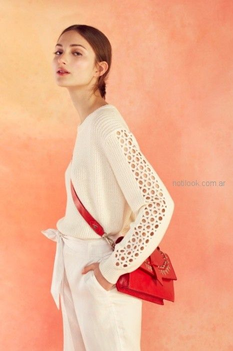 sweater tejido calado blanco verano 2019 - Ayres