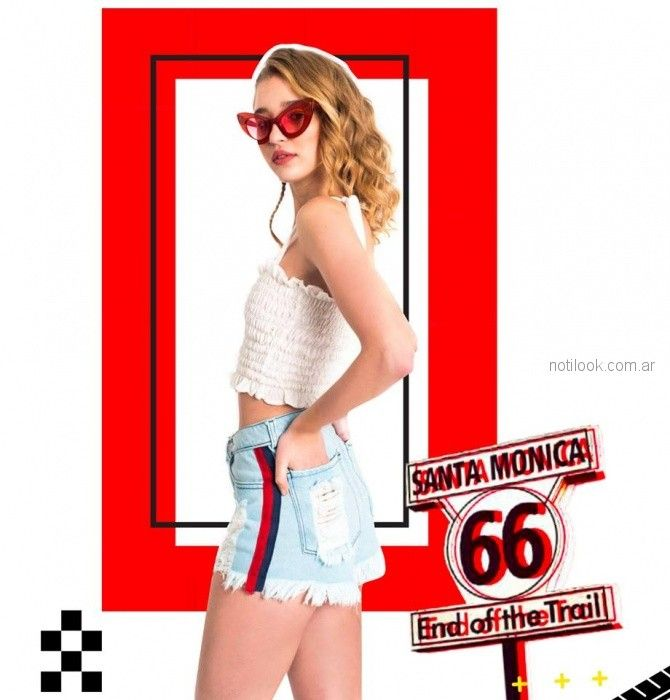 top blanco con short jeans rustico moda teenager love this verano 2019