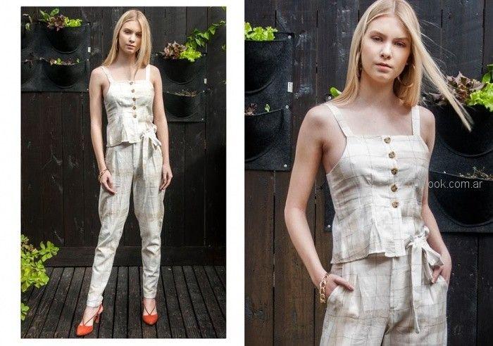top y pantalon de lino mujer Tramps primavera verano 2019