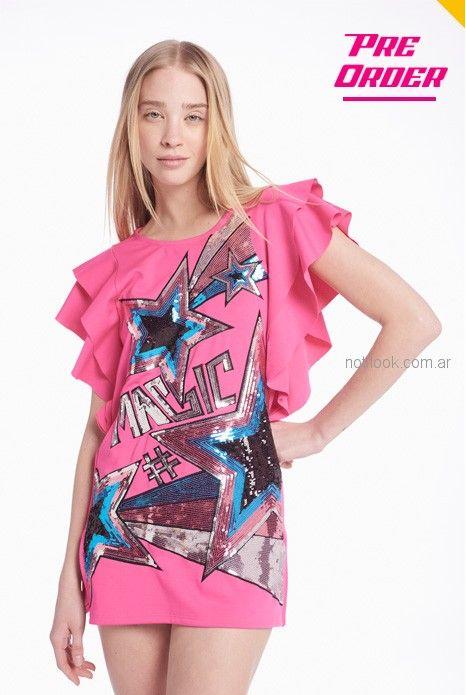 vestido corto rosa juvenil para el dia Agustina Saquer verano 2019