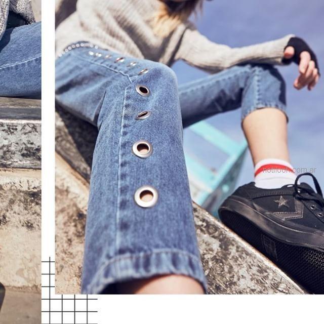 Inversa - jeans con ojales - moda urbana verano 2019