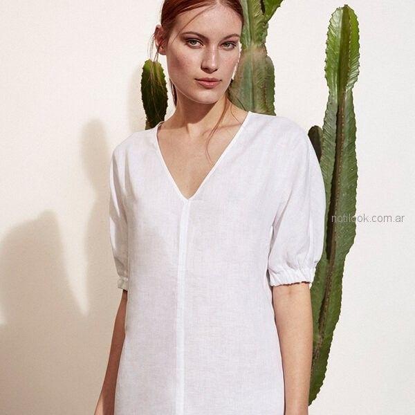 blusa blanca mangas cortas abullonadas Etiqueta Negra mujer verano 2019