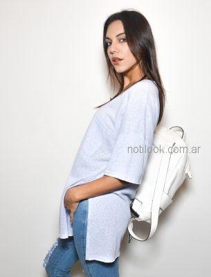 blusa celeste mangas cortas Zulas verano 2019