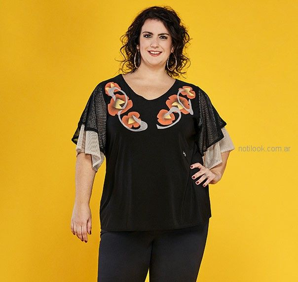 719e164a12 blusa con mangas verano 2019 – Loren talles grandes – Moda Mujer ...