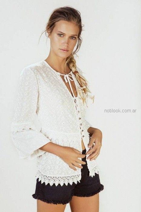 blusa en guipure y short de jeans verano 2019 - Vesna