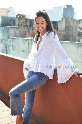 blusa mangas oxford blanca Zulas verano 2019