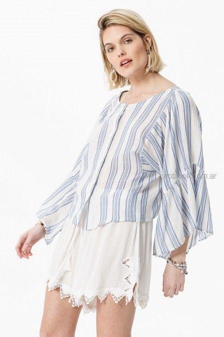 camisa a rayas mangas amplias verano 2019 - India Style