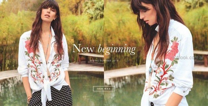 camisa bordada anudada verano 2019 - India Style