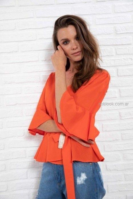 camisa cruzada naranja juvenil Doll Store verano 2019