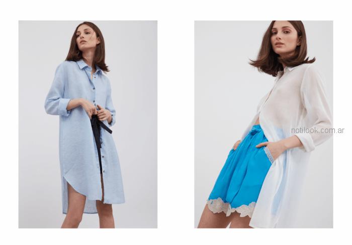 camisas lisas largas estilo vestido camisola con encaje beige Vero Alfie verano 2019