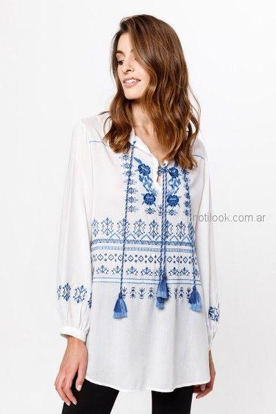 camisola blanca bordado azul verano 2019 - India Style