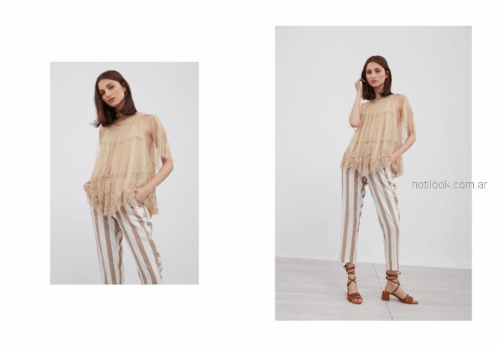 camisola con encaje beige Vero Alfie verano 2019