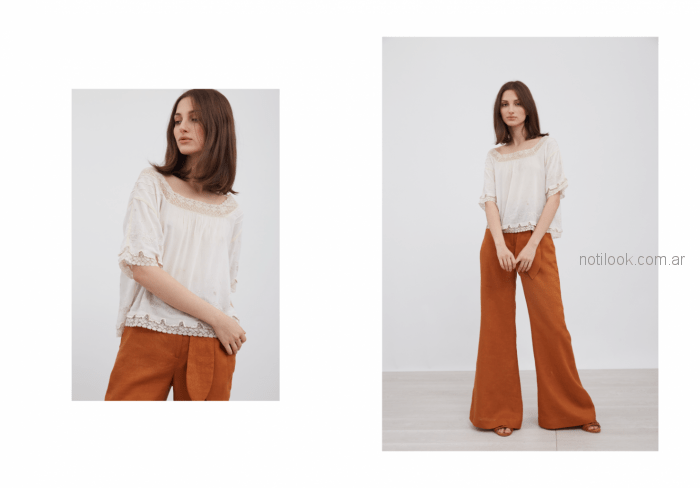 camisola con puntilla de microtul bordado Vero Alfie verano 2019
