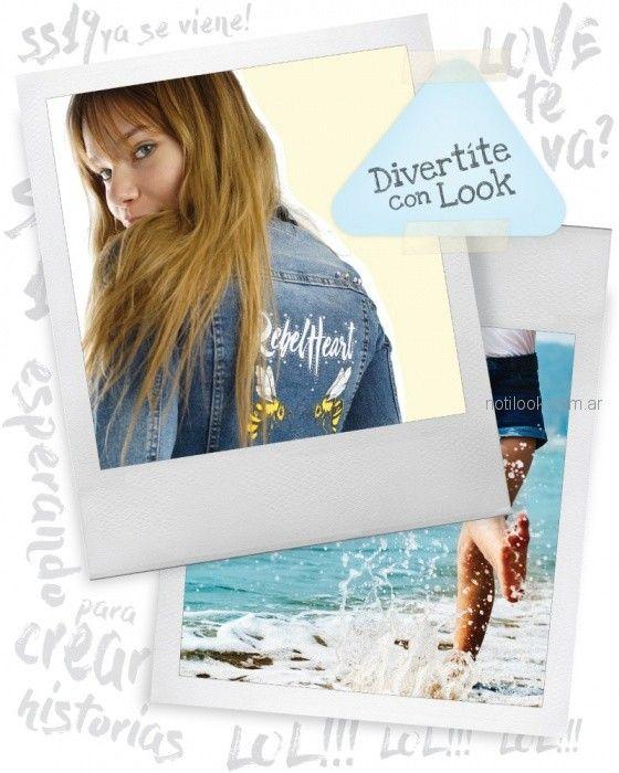 campera denim con impresiones en espalda Diosa luna jeans verano 2019