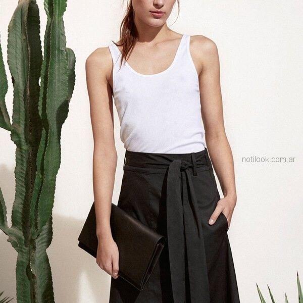 falda larga de crepe sastrero Etiqueta Negra mujer verano 2019