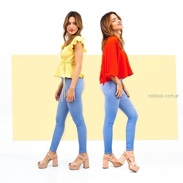 jeans con blusas lisas verano 2019 - Alma Jeans