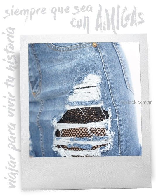 jeans con roturas y parche red Diosa luna jeans verano 2019