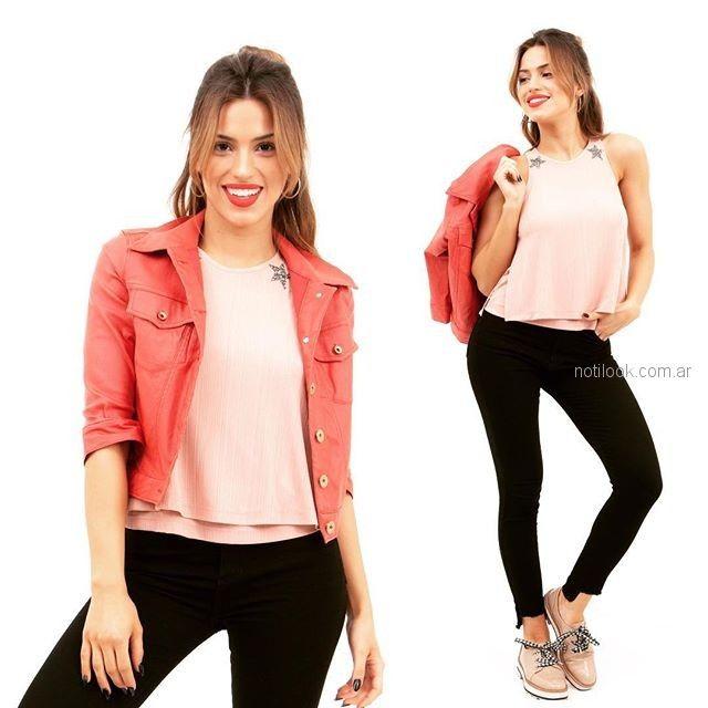 jeans negro campera rosa verano 2019 - Alma Jeans