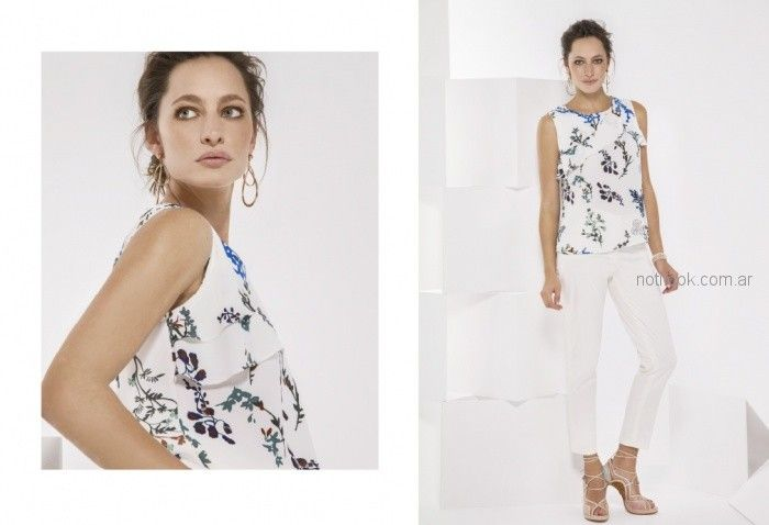 look con pantalon blanco para la oficina Etam primavera verano 2019