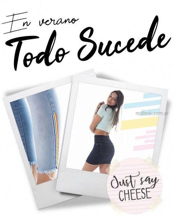 minifalda denim Diosa luna jeans verano 2019