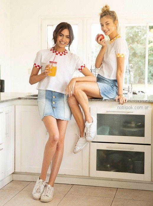 minifalda denim botones Diosa luna jeans verano 2019