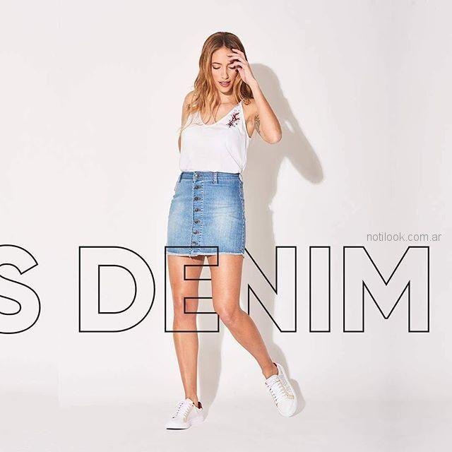 minifalda jeans con botones zhoue verano 2019