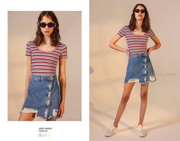 minifalda jeans verano 2019 - Kimeika