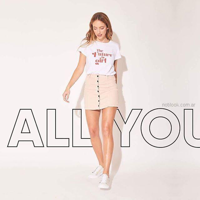 minifalda rosa palido abotonada Zhoue verano 2019