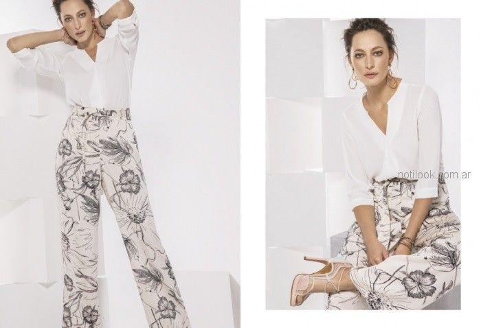 palazzo estampado y blusa blanca para la oficina Etam primavera verano 2019