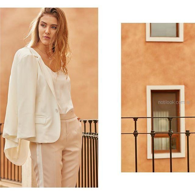 pantalon de vestir con fraja lateral y blazer blanco Julien verano 2019