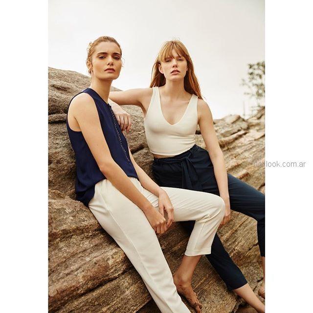 pantalones chupin de vestir y blusa musculosa mujer Silenzio verano 2019