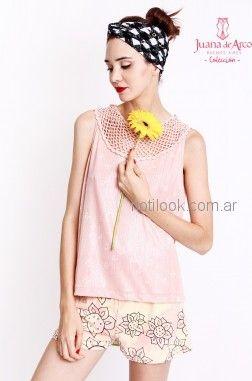 short rosa con estampa vestido recto juvenil con estampa original al frente Juana de arco verano 2019