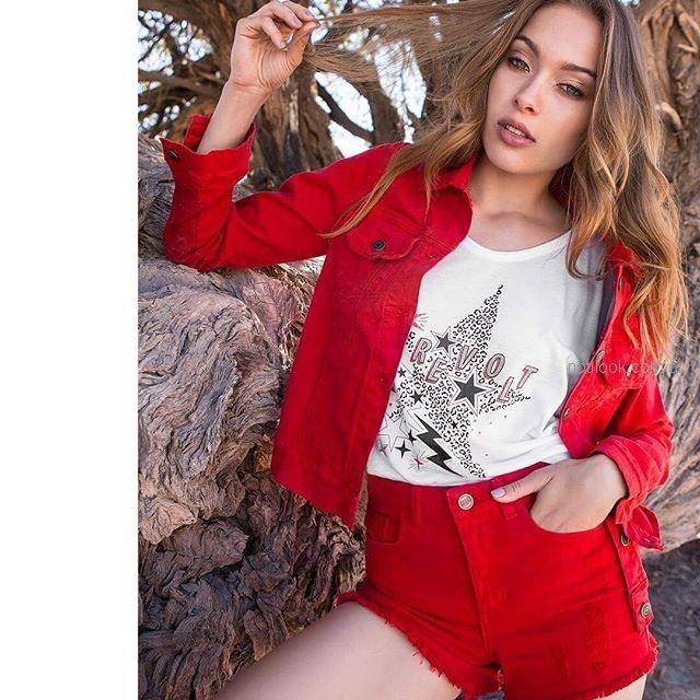 short y campera jeans roja Zhoue verano 2019