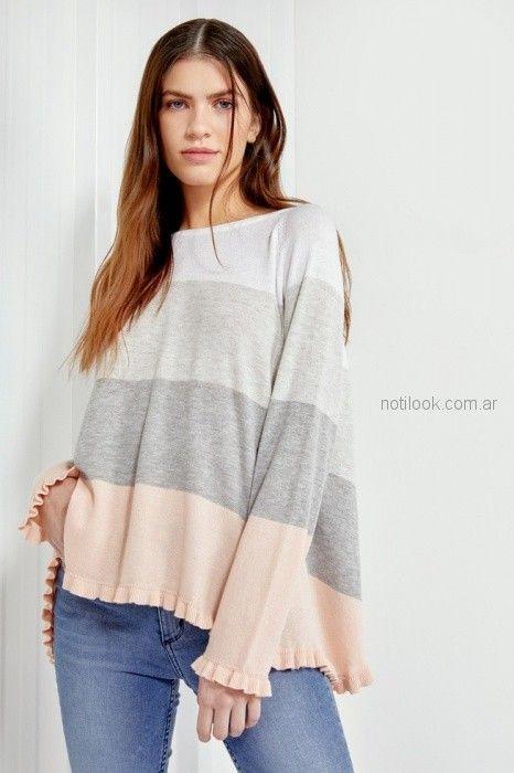 sweater holgado a rayas combinadas Millie primavera verano 2019