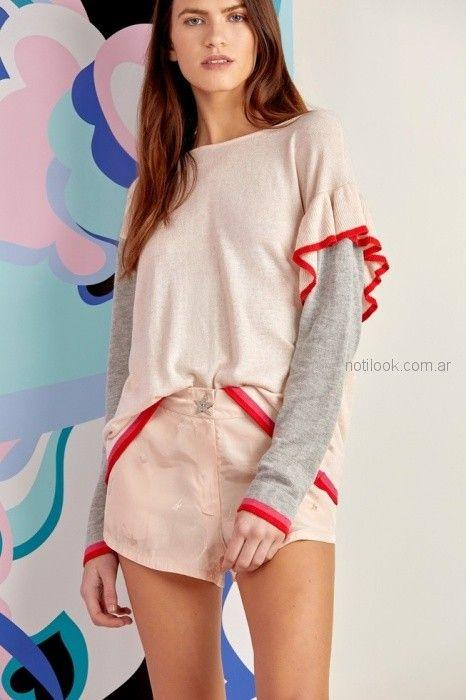 sweater volado en bajo hombro Millie primavera verano 2019