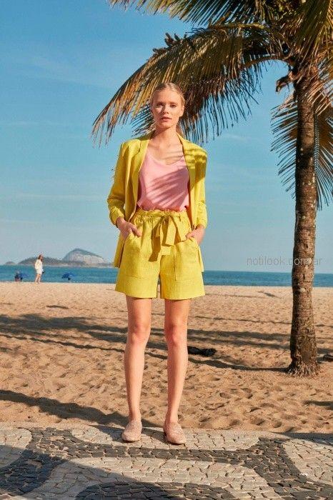 traje con short amarillo verano 2019 - Desiderata