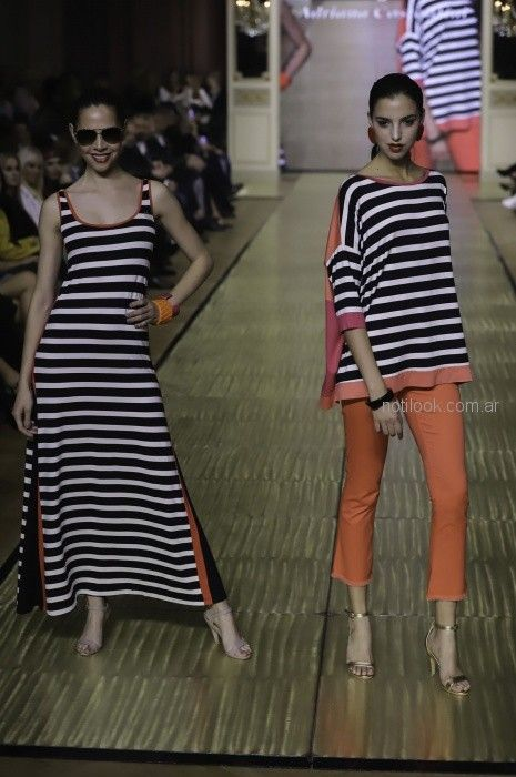 vestido a rayas informal para señoras Adriana Costantini primavera verano 2019