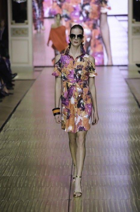 vestido camisero estampado para señoras Adriana Costantini primavera verano 2019