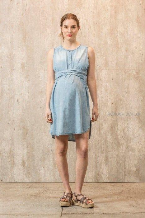 vestido corto denim para embarazadas Maa Maternity primavera verano 2019