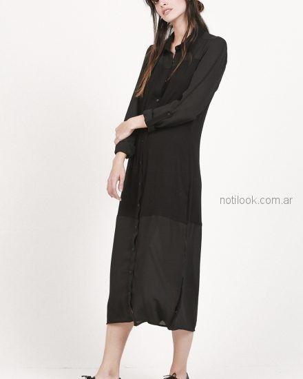 vestido largo camisero bambula Oassian verano 2019