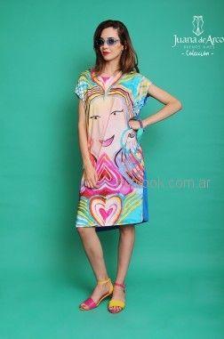 vestido recto juvenil con estampa original al frente Juana de arco verano 2019
