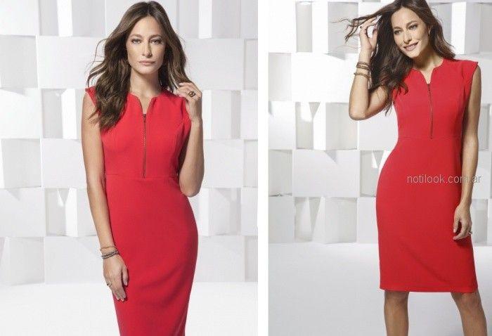vestido rojo con expandex ideal oficina Etam primavera verano 2019